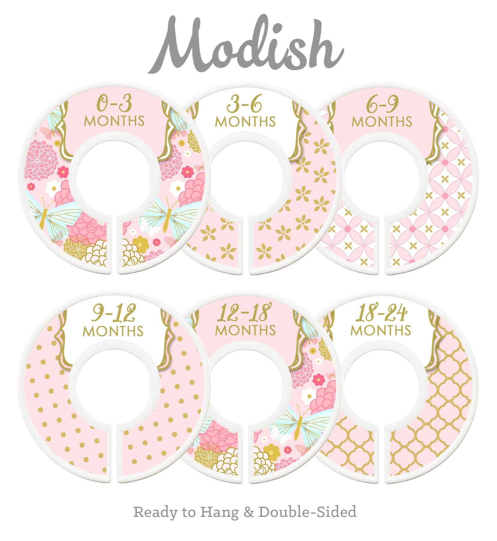 Modish Labels Baby Nursery Closet Dividers, Closet Organizers, Nursery Decor, Baby Girl, Pink, Gold, Confetti, Floral, Flowers