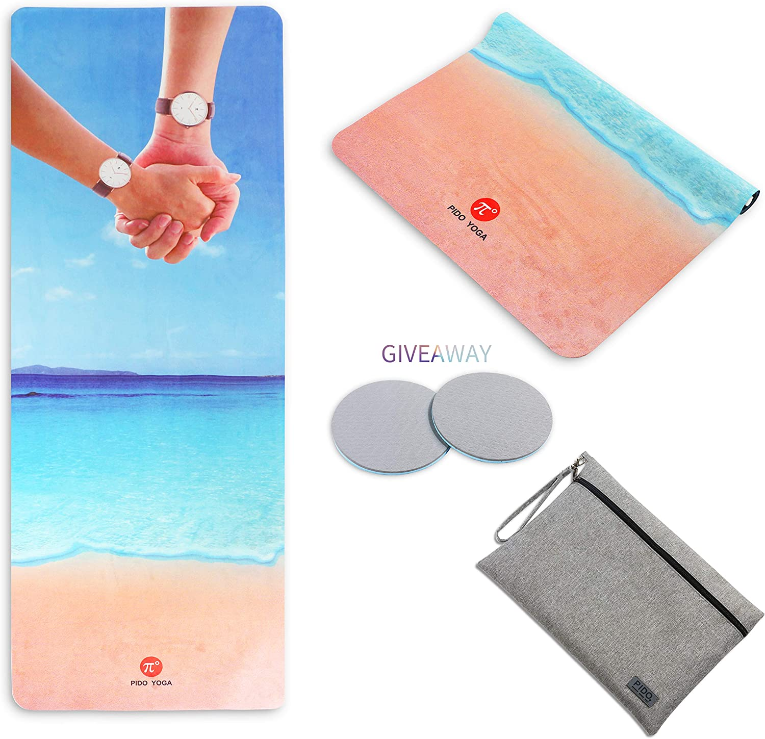 """WWWW Travel Yoga Mat Non Slip Printed Suede Rubber Yoga Mat with Bag 72""""x 26"""" Portable 1/16 Inch Ultra Thin Folding Mat for Yoga Pilates Home Fitness Exercise"""