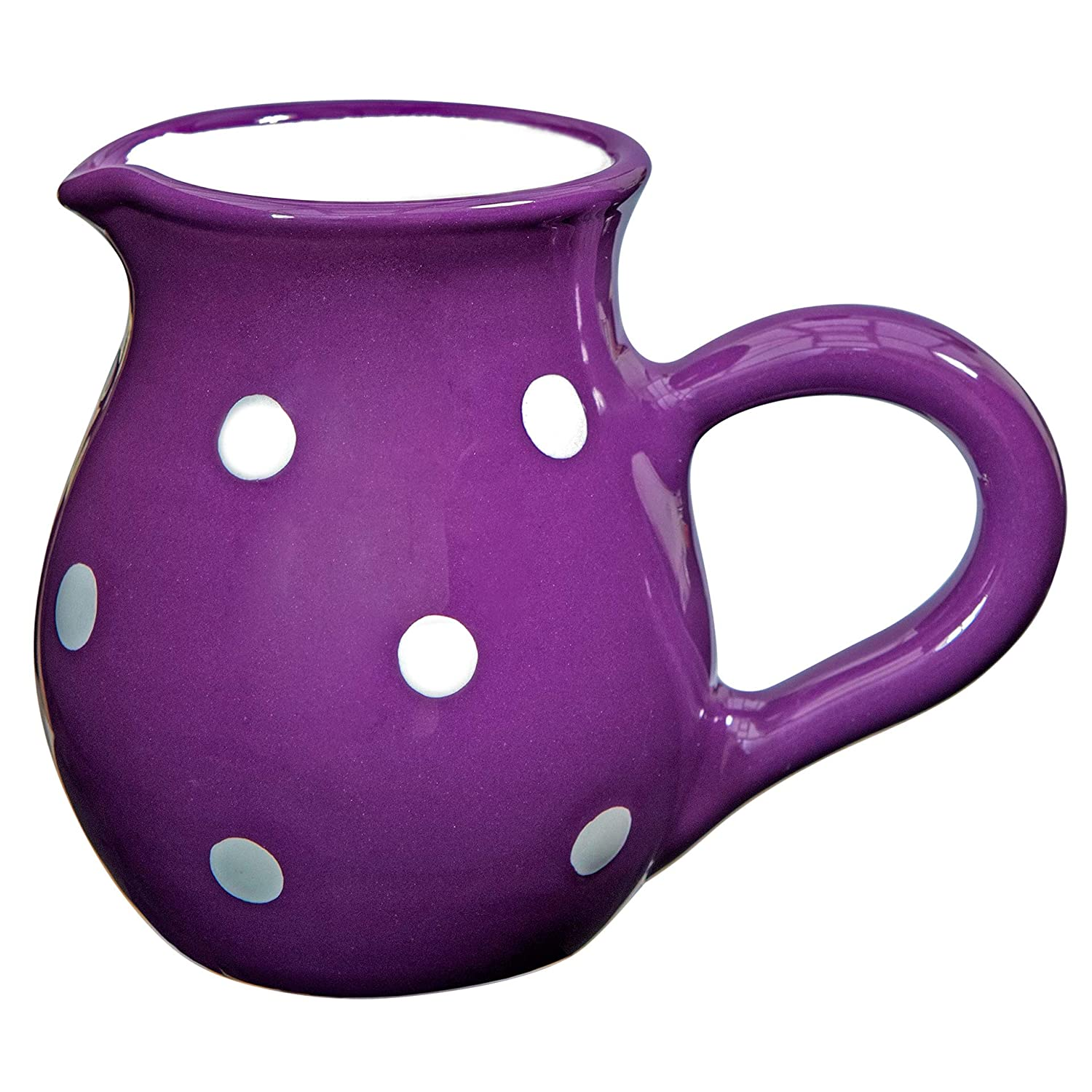 City to Cottage Purple And White Polka Dot Handmade Hand Painted Ceramic Milk Jug Creamer Pourer citytocottage.co.uk