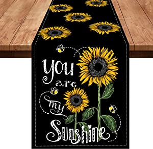 Pinata Sunflower Table Runner Fall Tablecloth 72 Inches Long x 13 Burlap Linen, Black Floral Flower Bee Farmhouse Summer Decorations for Home Kitchen Decor Accessories Dining Room Party Cloth Placemat
