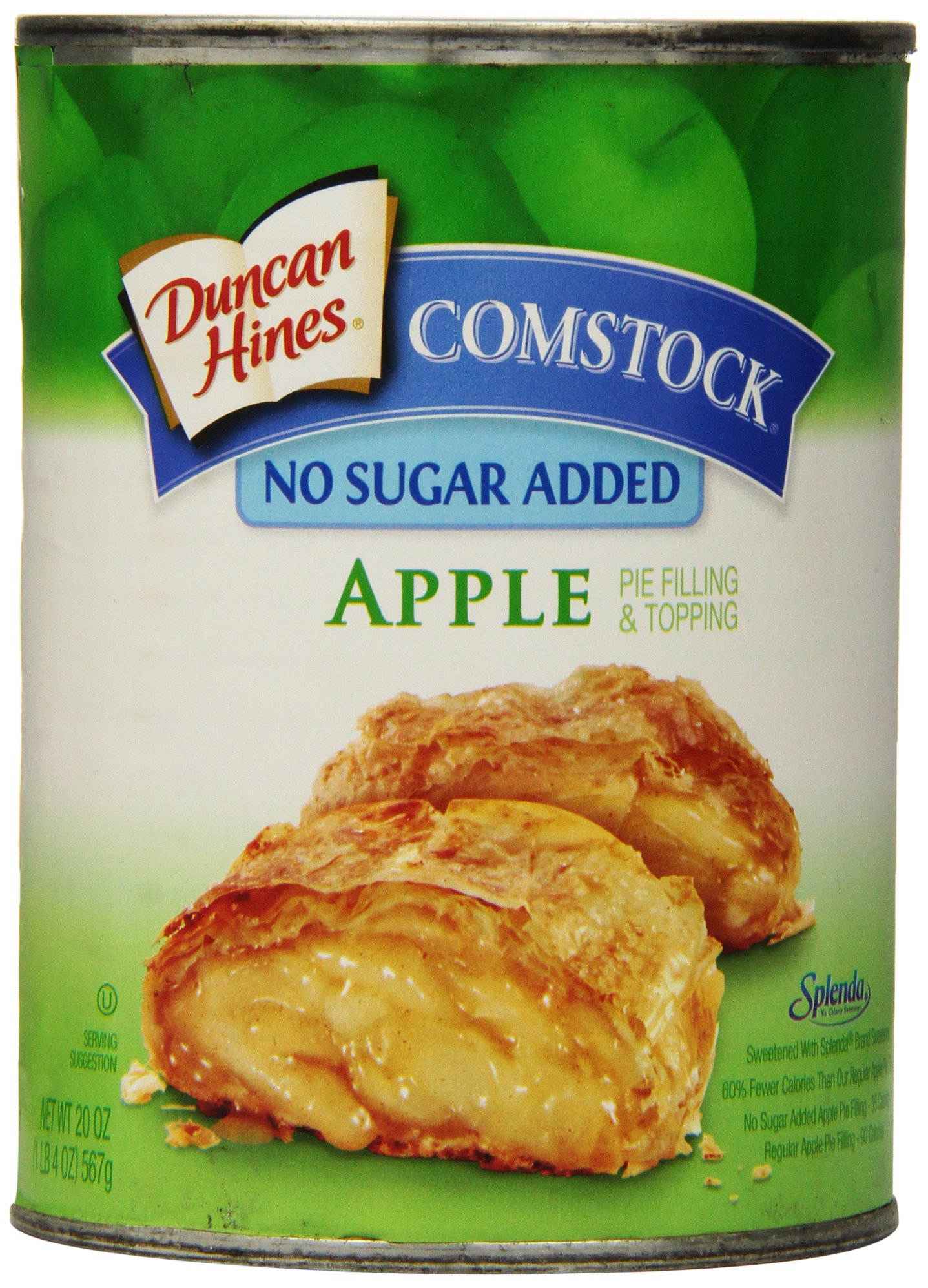 Comstock No Sugar Added Pie Filling & Topping, Apple, 20 Ounce (Pack of 12)