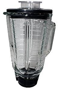 Blendin 5 Cup Square Top Glass Jar Assembly With Blade, Gasket, Base, Lid. Fits Oster Blenders