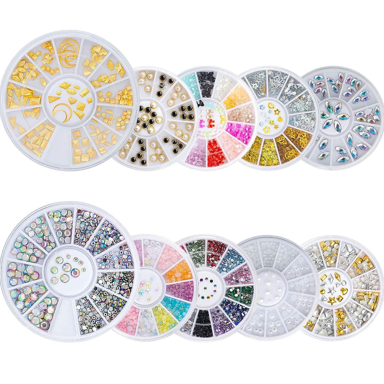 Czemo 10 Cajas Decoraciones de Arte de Uñas 3D Adornos Uñas Acrilicas Diamantes Brillantes de Cristales Gemas Coloridas Perlas para Uñas: Amazon.es: Belleza