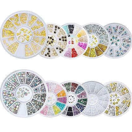 Czemo 10 Cajas Decoraciones De Arte De Uñas 3d Adornos Uñas Acrilicas Diamantes Brillantes De Cristales Gemas Coloridas Perlas Para Uñas