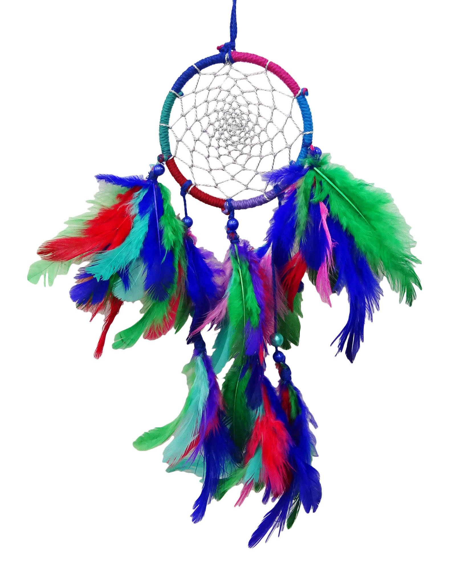 SuSvapnaah Boho Dream Catcher Wall Hanging Window Decor Multicolour Faux Feather Small