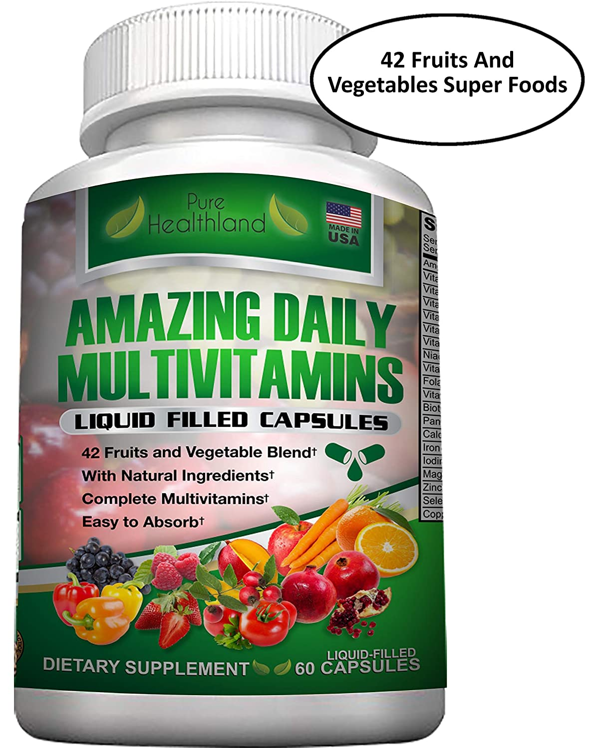 Food Based Daily Liquid Filled Multivitamin Supplement Capsules for Men Women Seniors with 42 Fruits Vegetables Blend, 21 Essential Vitamins Minerals. Easy to Swallow