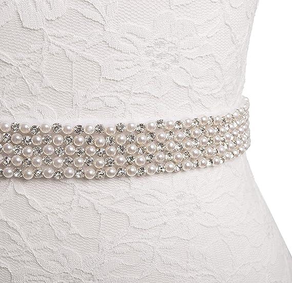 Wedding Dress Bridal Beaded Pearls Sash Waist Belt Cream White Ribbon