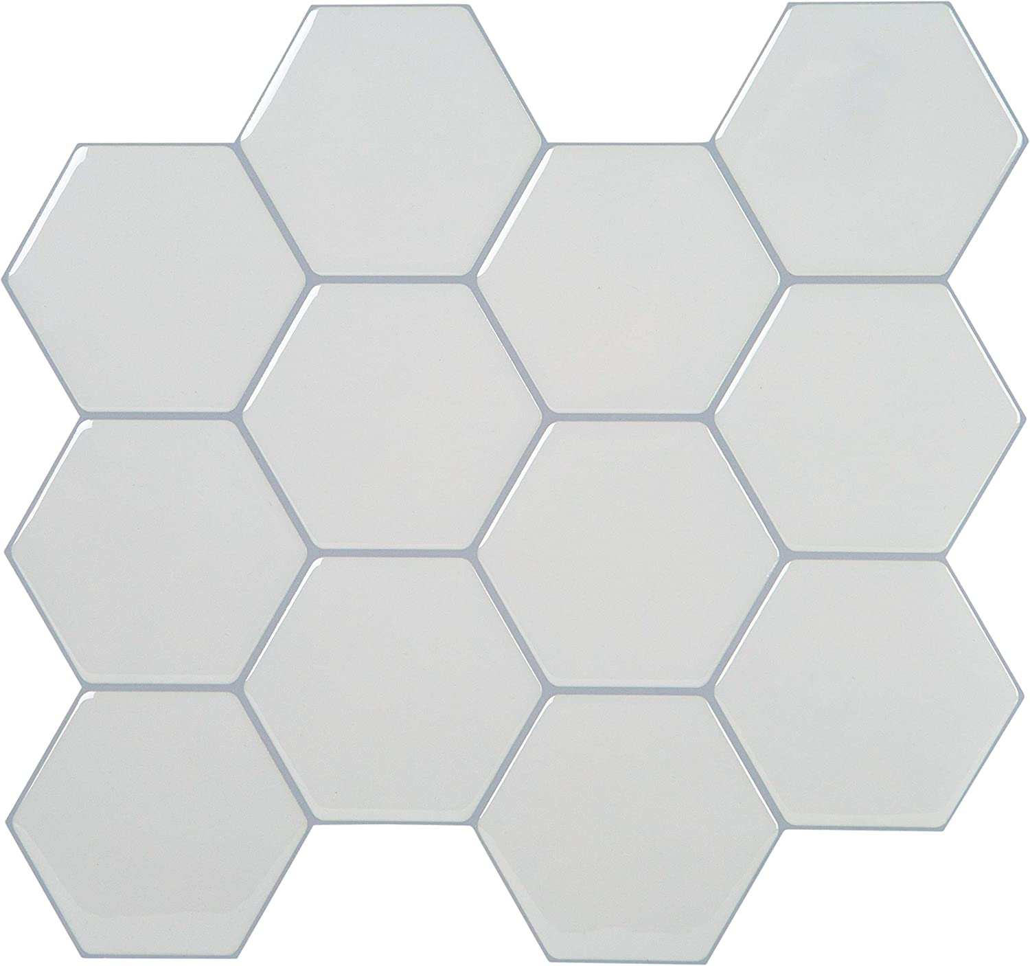 "Simplify Peel & Stick Wall, 4 Tiles-10.25""x10.25"" Each Back Splash, White"