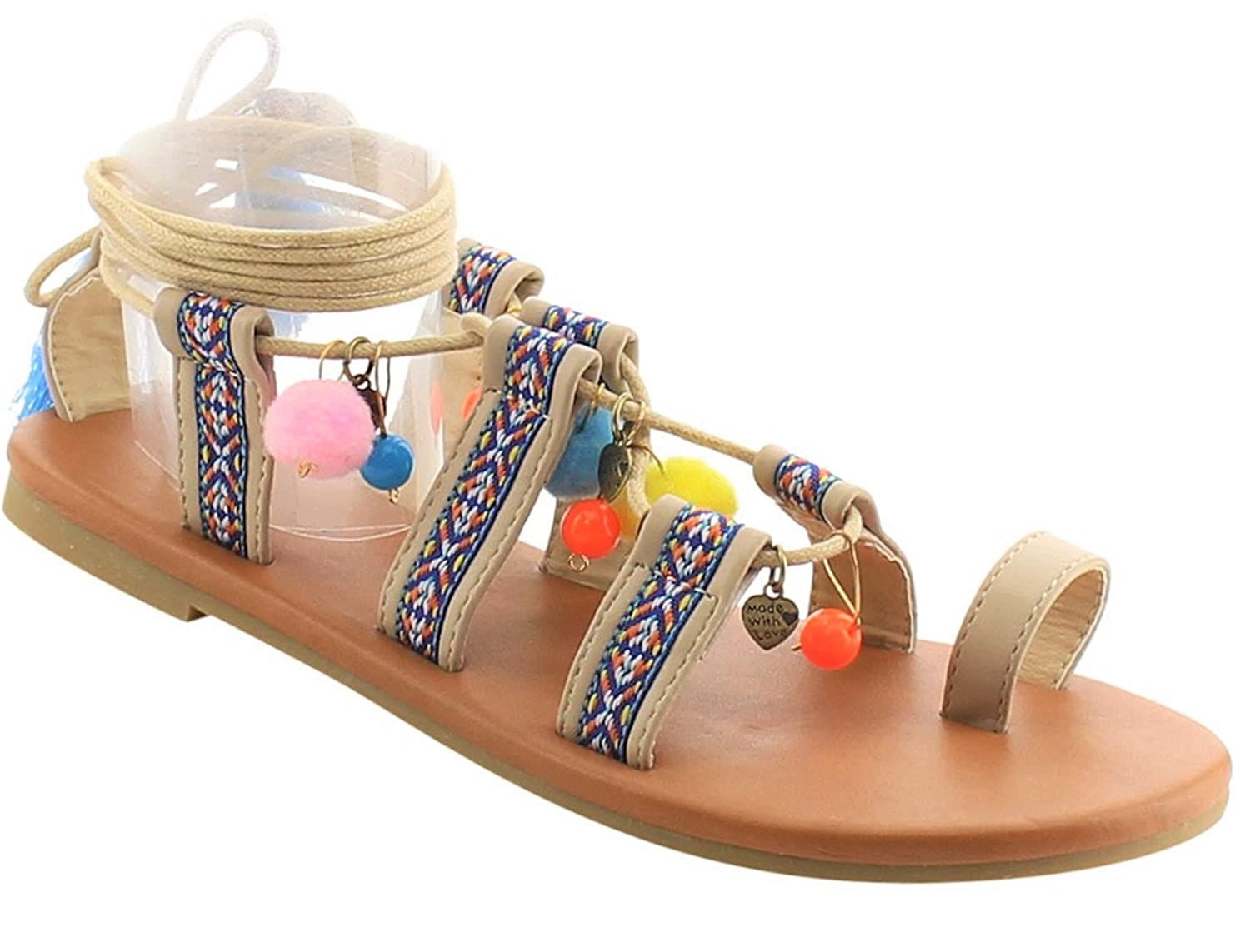 93d82dfdf87 Image BDshoes Gladiator Strappy Flat Pom Pom Casual Opal Sandal for Women  Girls Clearance Sale (