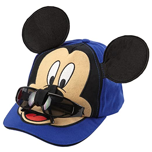 Disney Boys Mickey Mouse Cotton Baseball Cap - 100% Cotton (Blue with  Removable Sunglasses b5f814fc1671