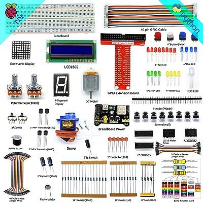 adeept Super Kit de iniciación para Raspberry Pi 3, 2 modelo B/B +, LCD1602, servo, motor, C y Python código, principiante/Starter kit con manual de usuario/Guía: Electrónica