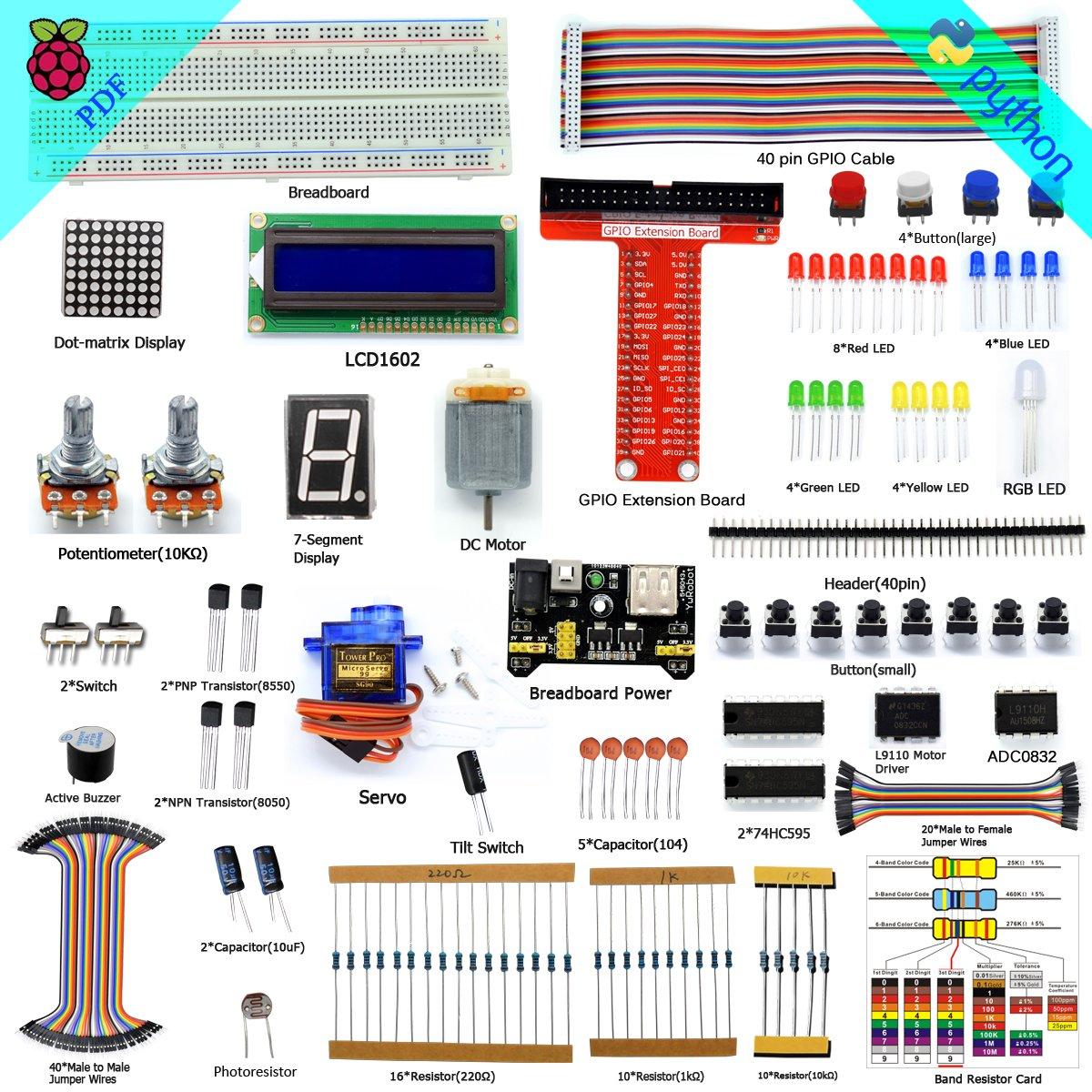 Adeept Super Starter Kit for Raspberry Pi 3, 2 Model B/B+, LCD1602, Servo, Motor, C and Python Code, Beginner/Starter Kit with User Manual/Guidebook ADR002