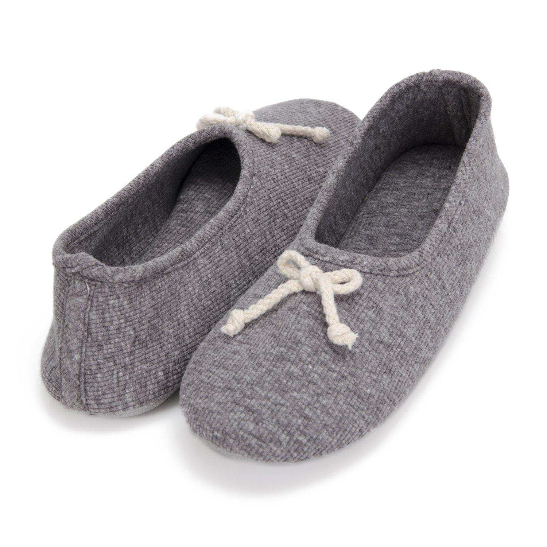 Moxo Women's Memory Foam Bedroom Ballerina House Slippers (Dark Grey) 40-41 EU