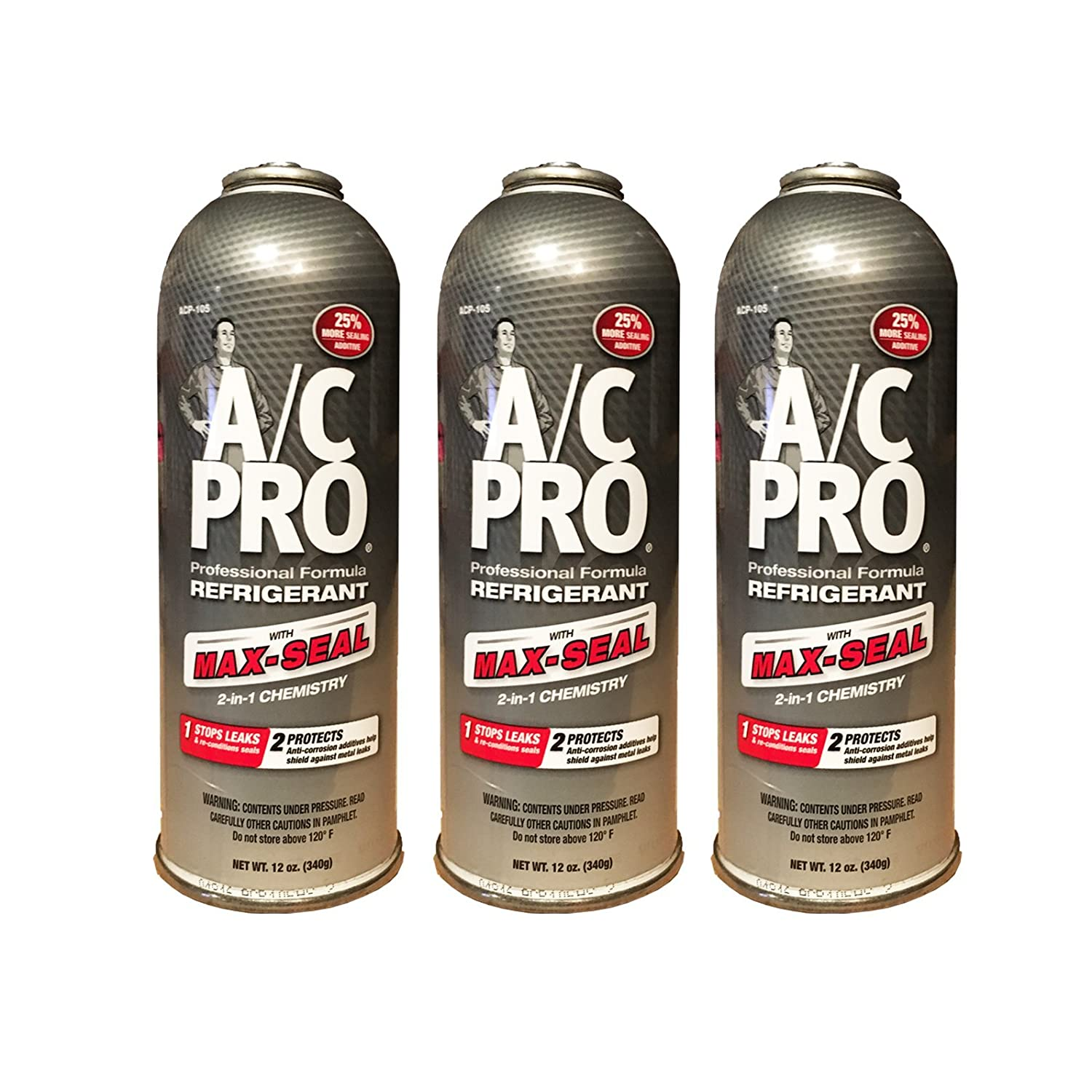 A/C PRO (ACP-105) PRO Professional Formula R-134a Ultra Synthetic Air Conditioning Refrigerant with Advanced Leak Sealer - 12 oz. - 3 cans Interdynamics A/C Pro