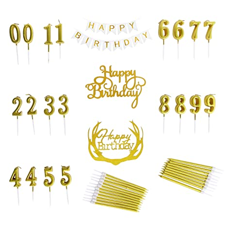 Happy Birthday Banner Candles Gold Numbered Thin