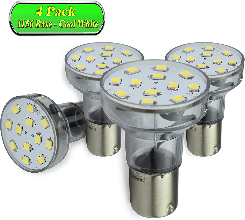 Leisure LED RV Trailer Motorhome LED Spot Light 1156 1139 1141 1383 LED Bulb 2 Watt 275 Lumen WW 10-30Volt 12Volt Short Neck Warm White 3500K, 4-Pack