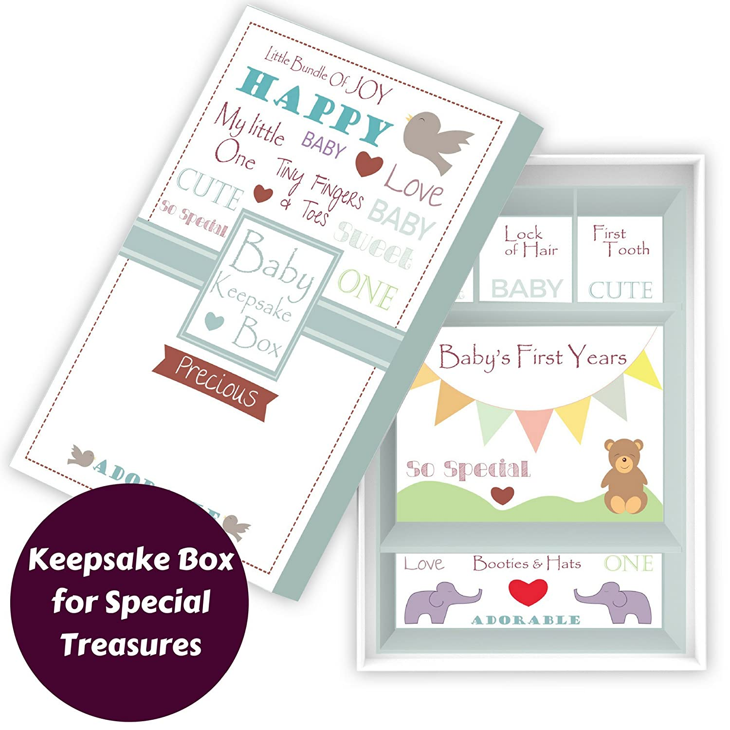 Baby/'s First Keepsake Memory Box with 4 Drawers for Parents to Keep Child/'s Special Mementos Souvenirs and Treasures