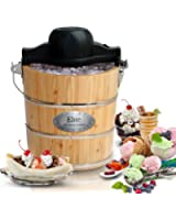 Elite Gourmet EIM-502 4 quart Old-Fashioned Ice Cream Maker with electric motor and hand crank, maple