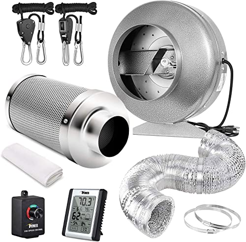 iPower 8 Inch Air Carbon Filter 25 Feet Ducting 745 CFM Inline Fan Combo with Variable Speed Controller Rope Hanger and Humidity Monitor for Grow Tent Ventilation, Silver