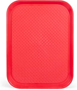 Fast Food Cafeteria Tray | 12 x 16 Rectangular Textured Plastic Food Serving TV Tray | School Lunch, Diner, & Commercial Kitchen Restaurant Equipment (Red)