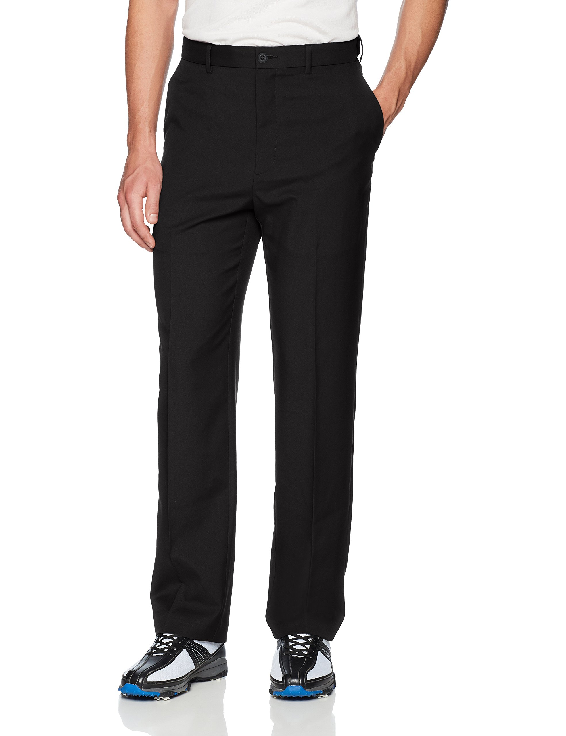 PGA TOUR Men's Flat Front Golf Pant with Expandable Waistband, Caviar 32X30
