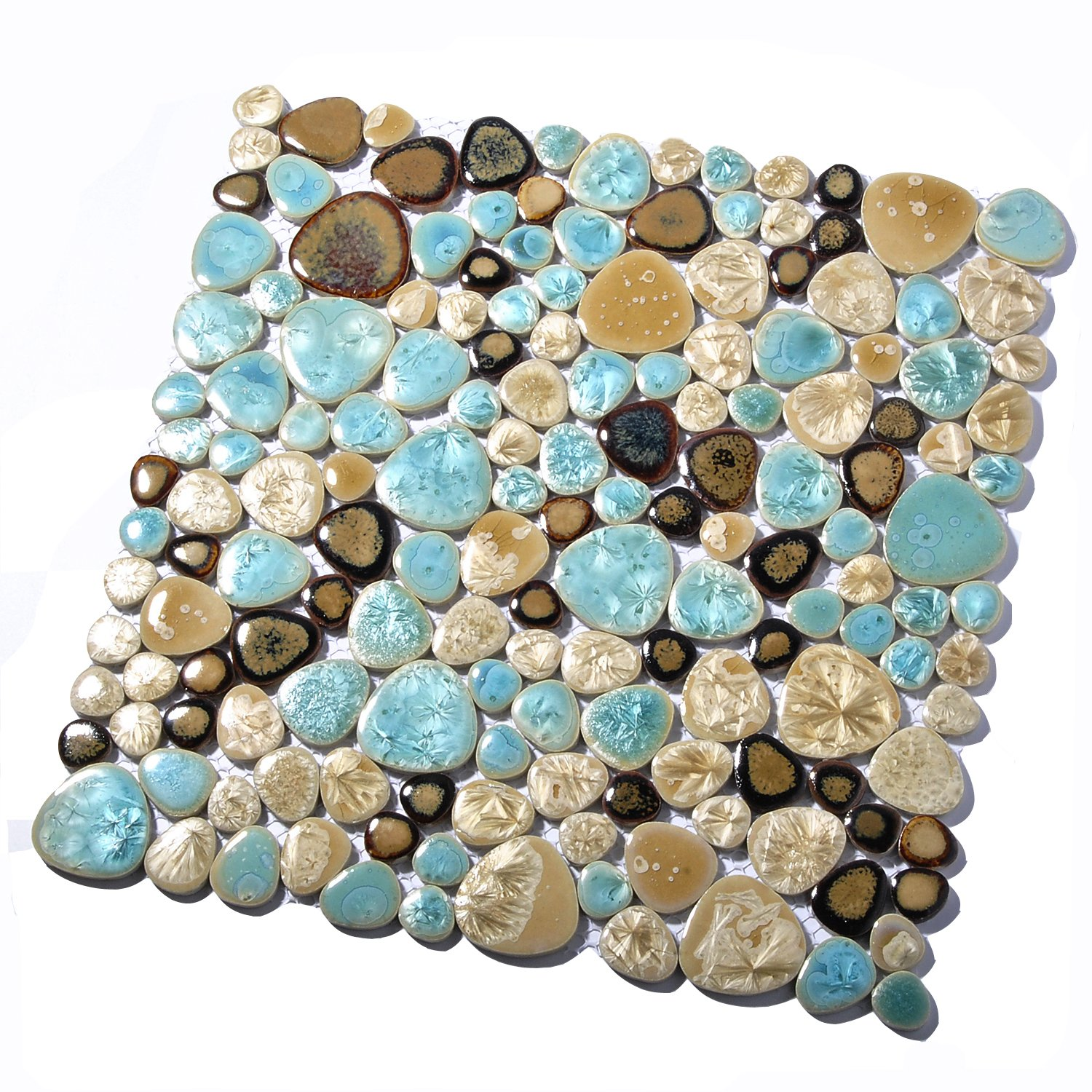 Amazon.com: Pebble Porcelain Tile Fambe Turquoise Green Beige Shower Floor  Pool Alley Tiles Mosaic TSTGPT005 (11 Square Feet): Home Improvement