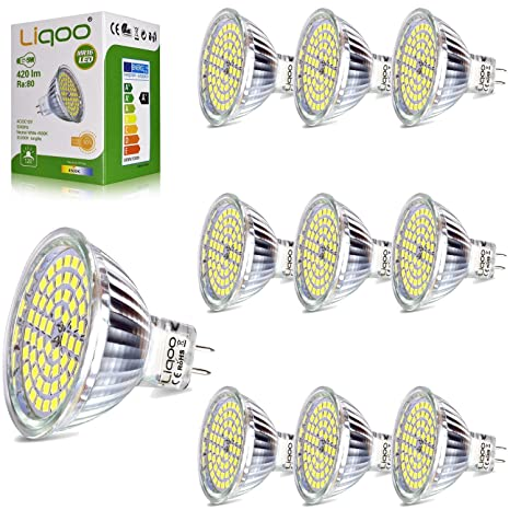 Liqoo 10x 5W Bombilla LED MR16 12V Blanco Neutro Natural 4500K 420Lm Lámpara GU5.3