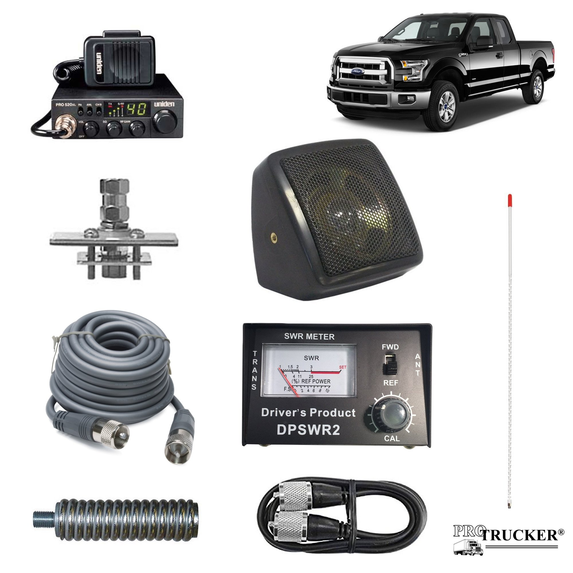 Pro Trucker Pickup CB Radio Kit Includes Radio, 4' Antenna, CB Antenna Mount, CB Coax, SWR Meter w/ Jumper Coax, Speaker, and Spring by Pro Trucker (Image #1)