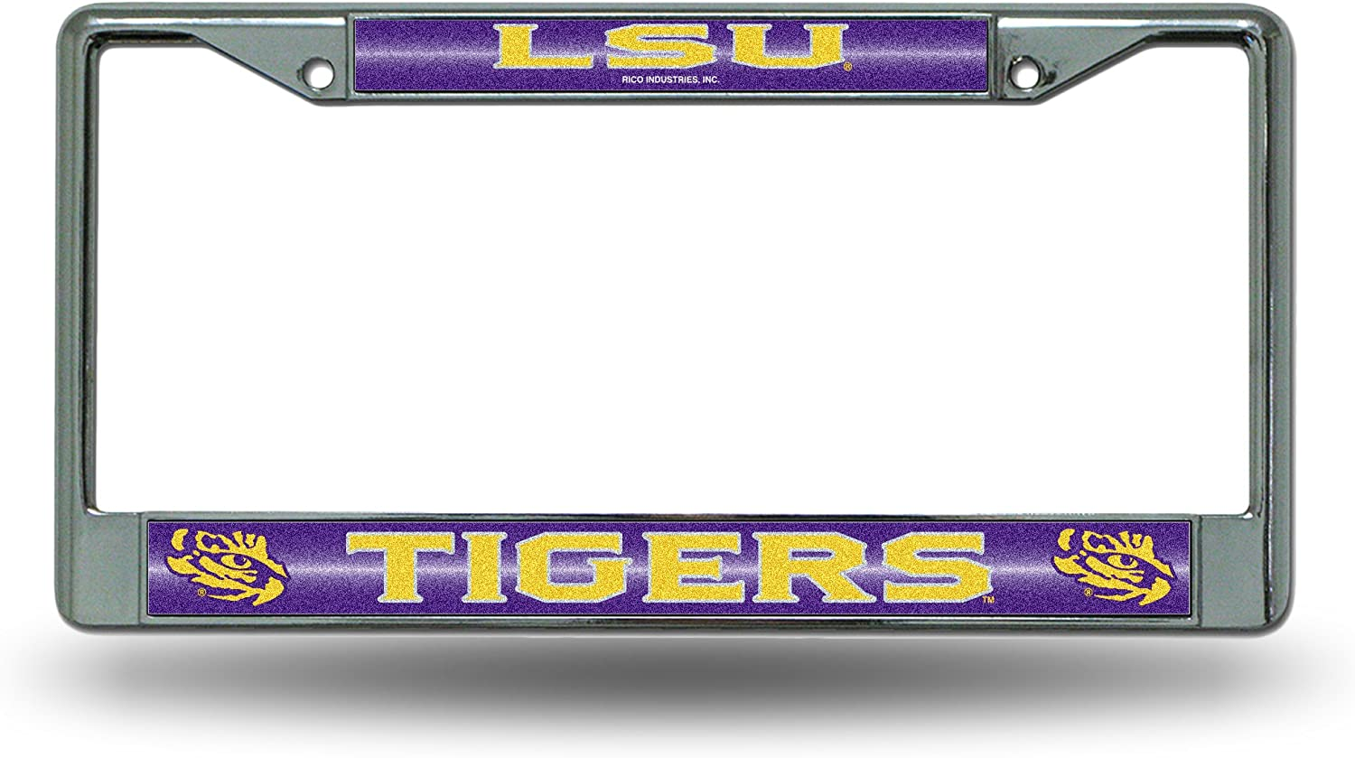 LSU Tigers NCAA Rico Industries  Bling Chrome License Plate Frame with Glitter Accent