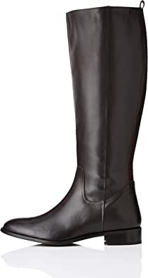 Marca Amazon - find. Flat Knee Length Leather - Botas Altas Mujer