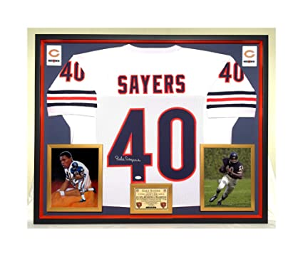 07a9b7b5898 Premium Framed Gale Sayers Autographed/Signed Chicago Bears Jersey - JSA  COA at Amazon's Sports Collectibles Store
