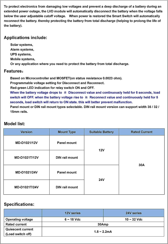 12V Batería Baja tensión Cut Off Interruptor proteger módulo 10A controlador Excessive
