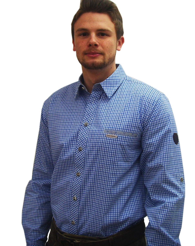 Klassisches Herren Trachtenhemd blau weiß kariertes Herrenhemd Edwin Langarm blau
