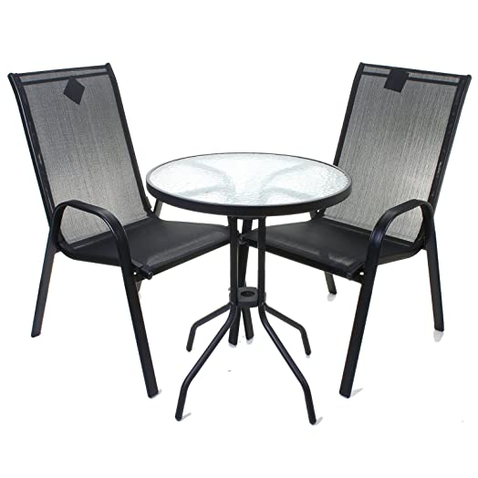 3 piece black bistro set outdoor garden furniture glass table high back chairs
