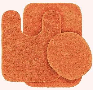Mk Home 3pc Angela Non Slip Soft Bath Set Rugs for Bathroom Bath Rug, Contour Mat, Toilet Seat Cover New (Orange)