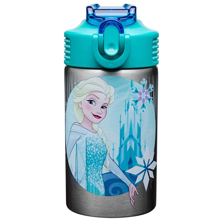 Zak Designs Frozen 15.5oz Stainless Steel Kids Water Bottle with Flip-up Straw Spout - BPA Free Durable Design, Frozen Girl SS