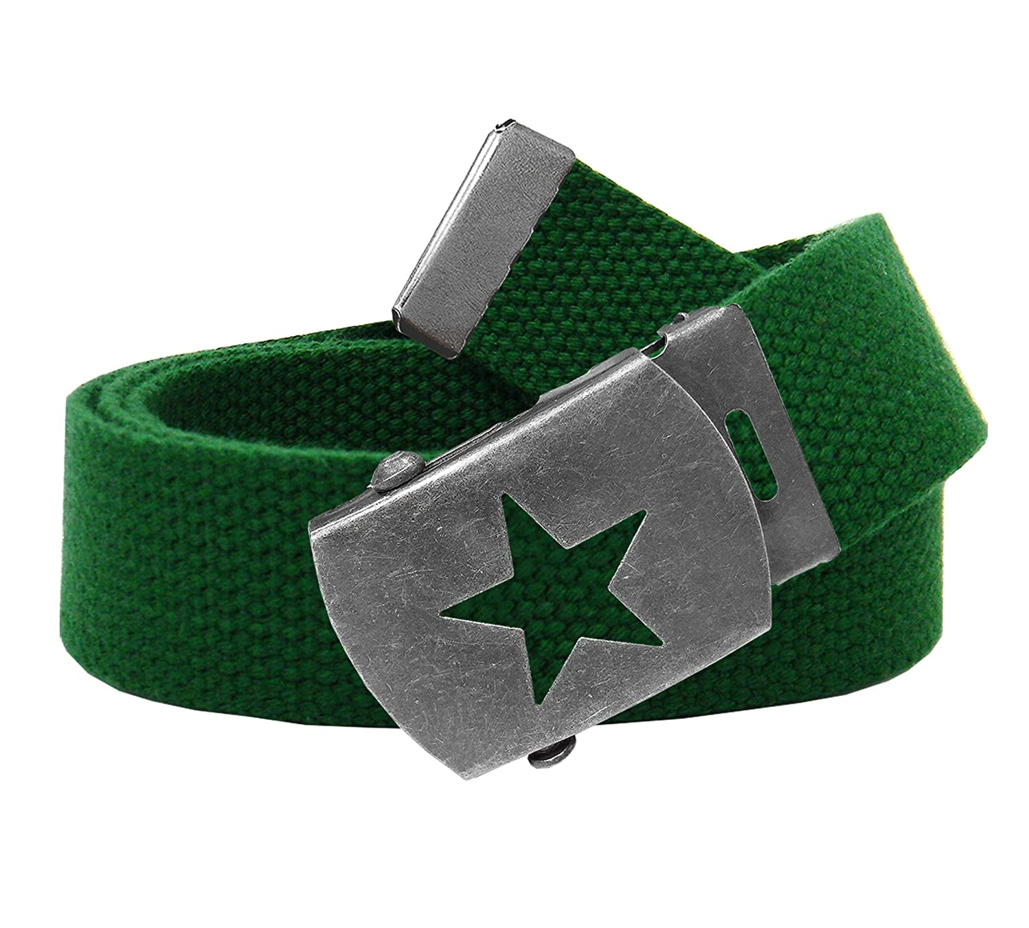 Women's Distressed Silver Star Slider Military Belt Buckle with Canvas Web Belt 9401W-Star-$P
