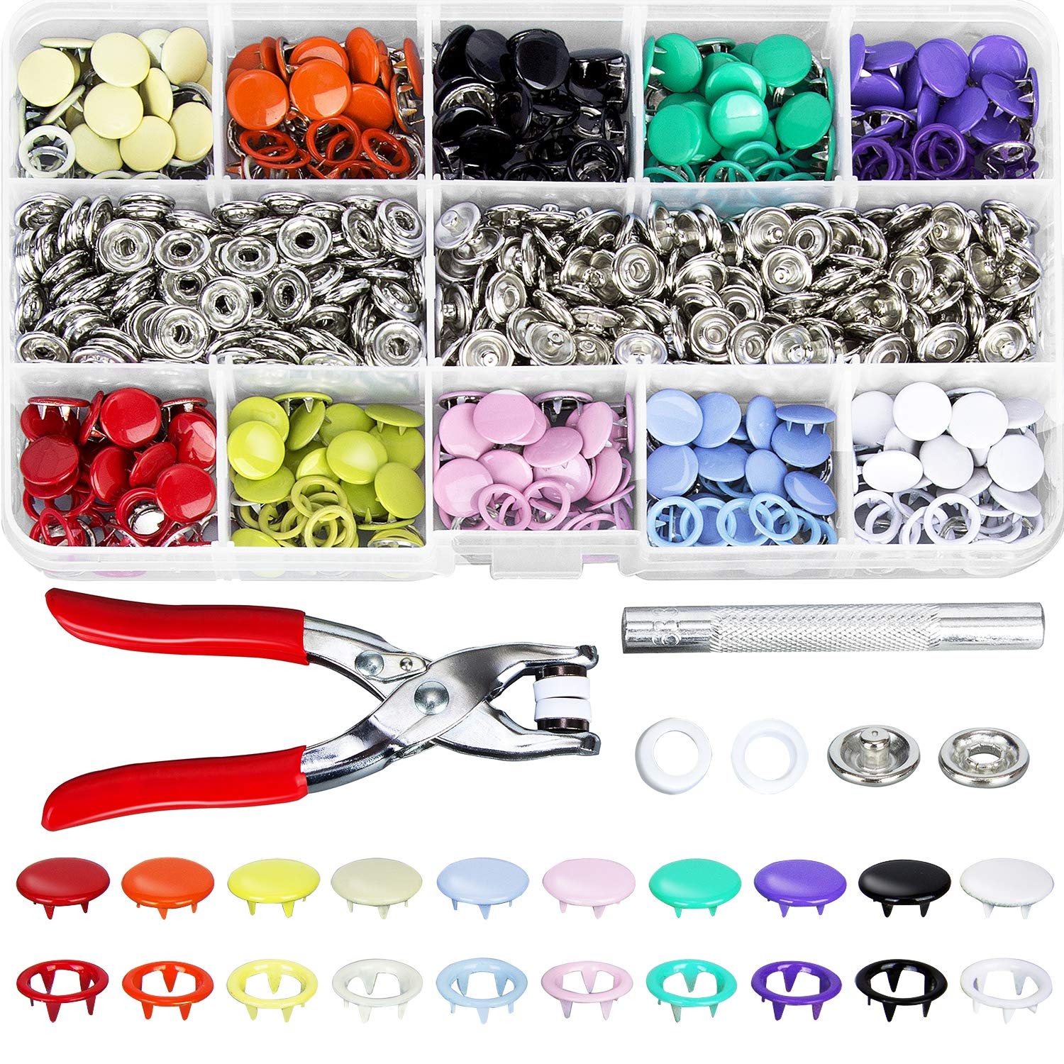 K Kwokker 200 Set Grommets Snap Fasteners Kit Leather Rivets Buttons Metal Press Studs 9.5mm 10 Colors Environmentally Metal Prong Ring Button for Leather, Coat, Down Jacket, Jeans Clothing