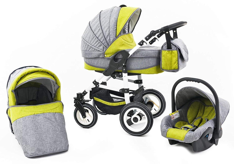 3 in 1 Kombi Kinderwagen Hartgummireifen Farbe: Green Tabbi ECO LN