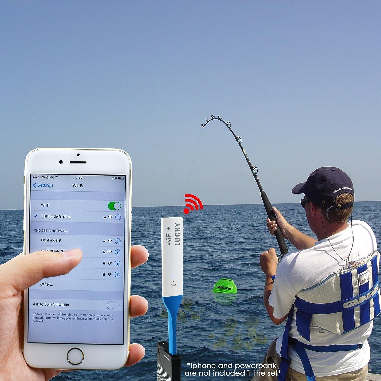Buscador inalámbrico de peces WIFI 45M Gama de profundidad Batería recargable Peces Detecta Android iOS con Wifi Extender para pesca en hielo, kayak, ...