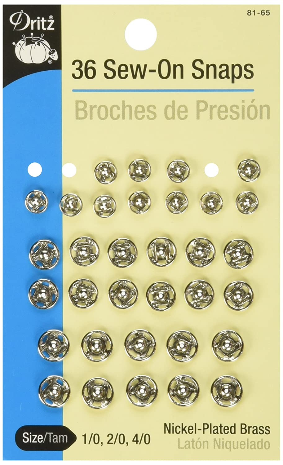 Dritz Snaps, Sew-On - Nickel-Plated Brass, Size 1, 2 & 4 - 36 Ct. 81-65