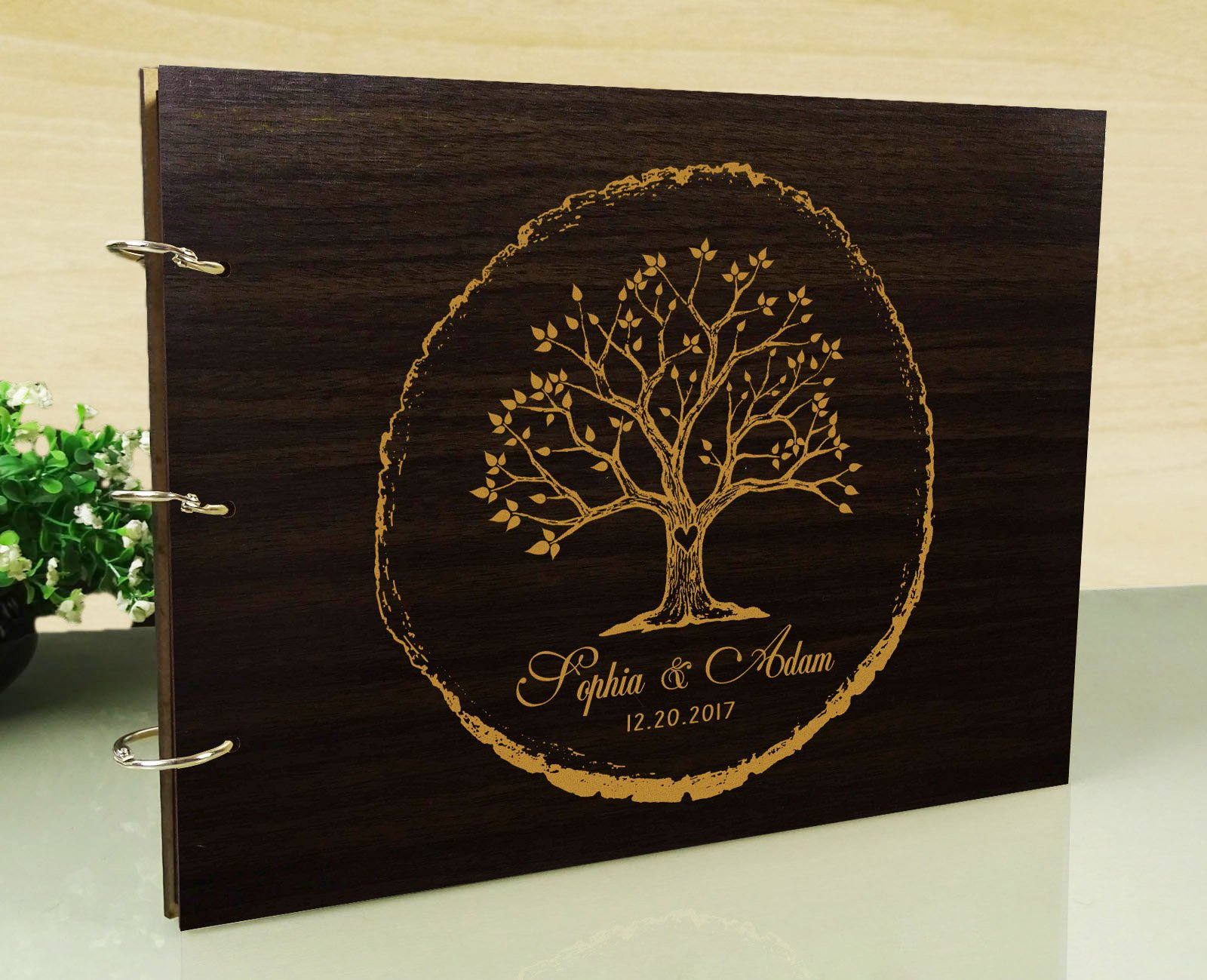 Handmade Tree Design Personalised Wooden Guest Book Rustic Wedding Wood Engraved Scrapbook by Darling Souvenir (Image #1)