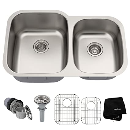 Kraus KBU24 32 inch Undermount 60/40 Double Bowl 16 gauge Stainless Steel  Kitchen Sink