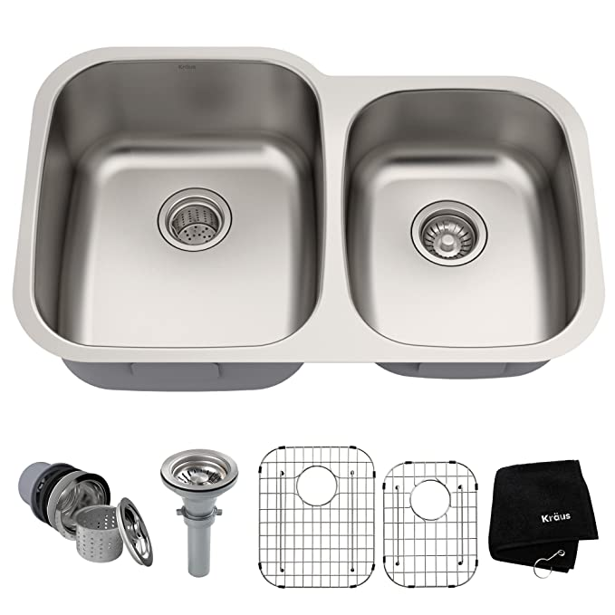 Best Double Bowl Kitchen Sinks Kraus KBU24 32 inch Undermount Double Bowl Kitchen Sink