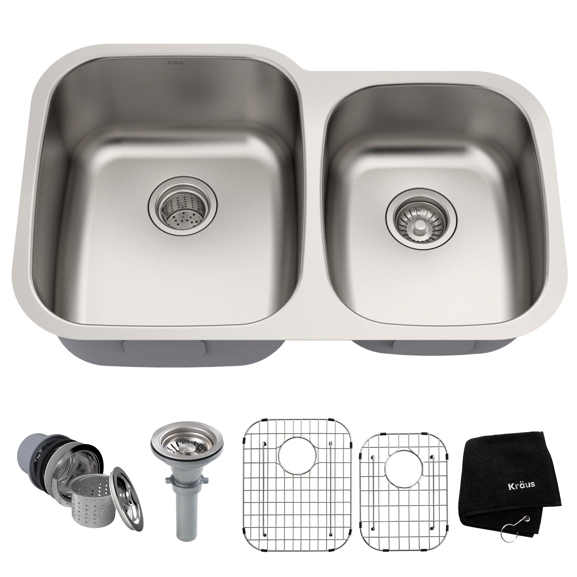 Kraus KBU24 32 inch Undermount 60/40 Double Bowl 16 gauge Stainless Steel Kitchen Sink by Kraus (Image #1)