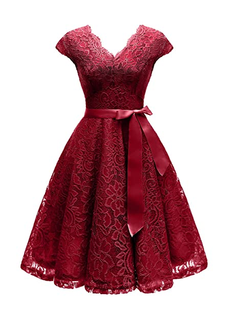 Vinvv Womens Short Vintage Floral Lace Dress V Neck Cap Sleeve Belt Bridesmaid Party Cocktail Dress Homecoming Dress Rs90035