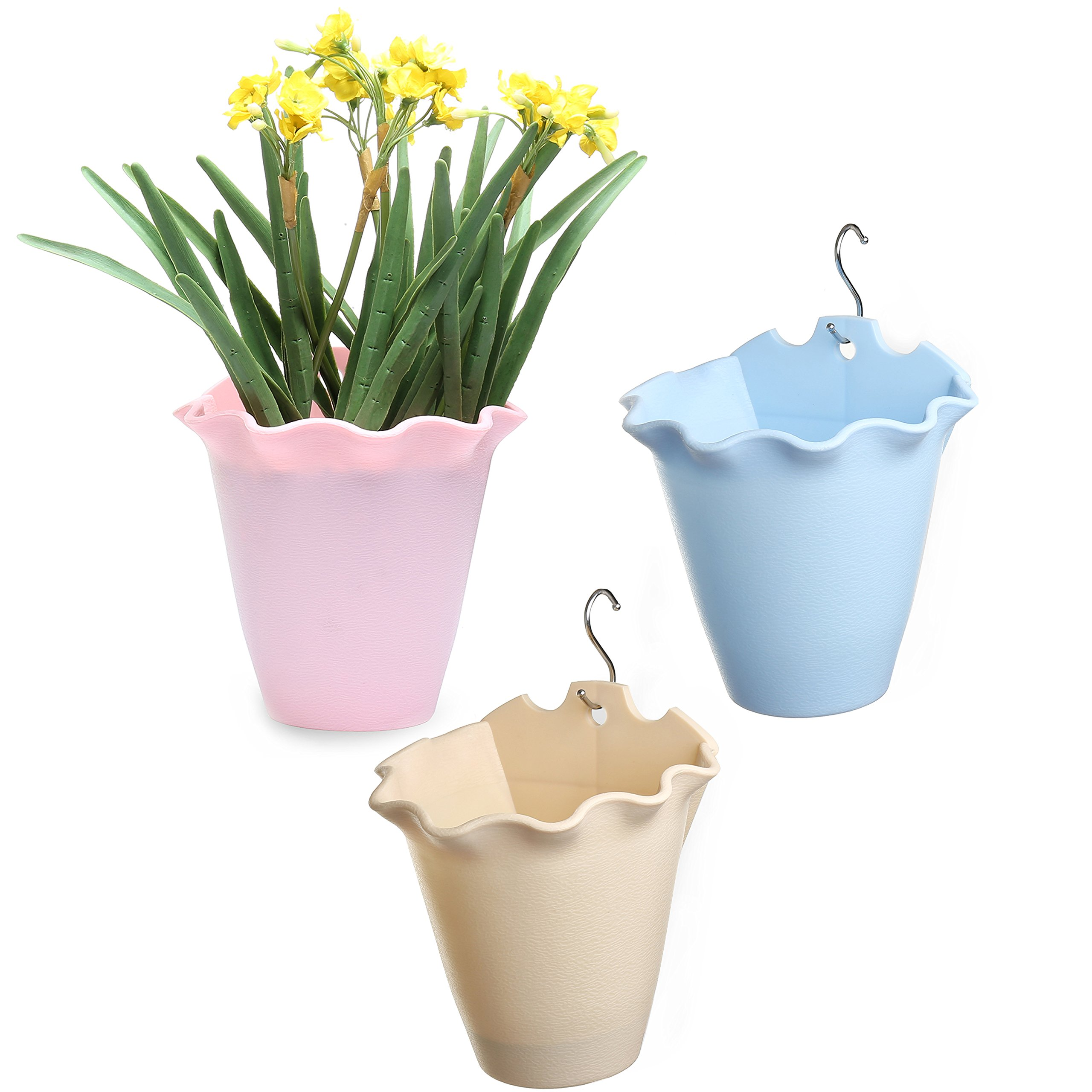 3 Pack Hanging Self-Watering Plastic Flower Pots with 3 hooks by MyGift
