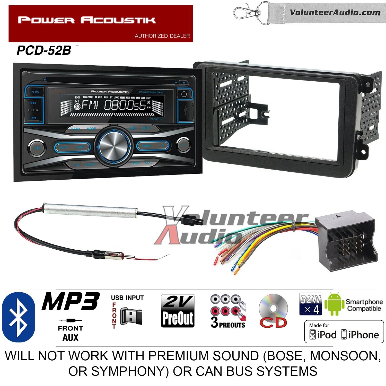 NEW POWER ACOUSTIK BLUETOOTH STEREO RADIO AUX USB INPUT CD PLAYER W DASH KIT