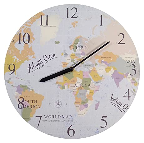 Amazon world map compass blue green beige cream wall clock world map compass blue green beige cream wall clock 34cm x 1cm x 34cm gumiabroncs Choice Image