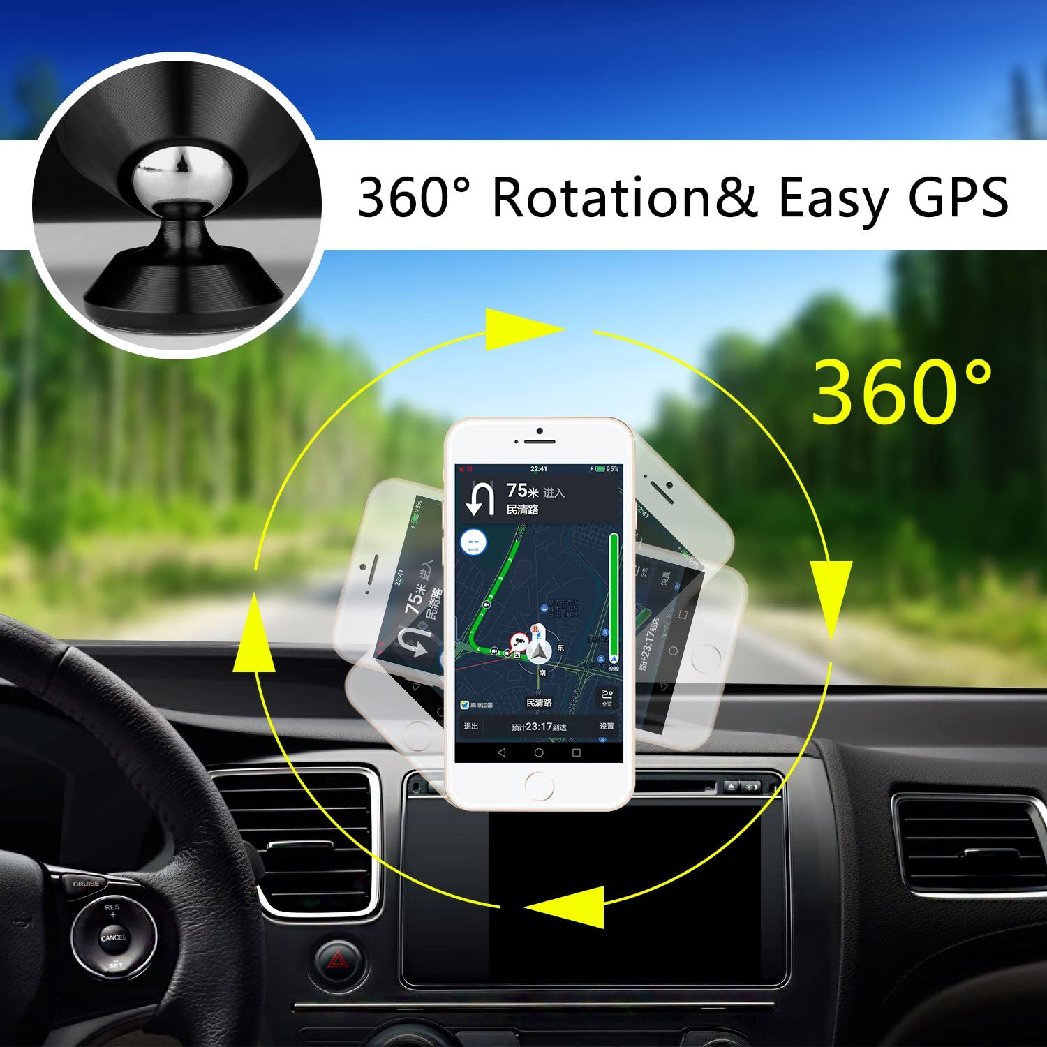 HETBEES Universal Dashboard 360/° Rotation iPhone Car Mount Car Phone Mount Magnetic Cell Phone Holder for All iPhone 7 7s 6s 6 5 Plus Samsung Smartphone GPS